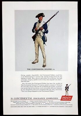 1962 CONTINENTAL INSURANCE The Continental Soldier 1781 Print Ad