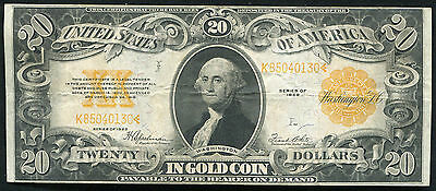 Fr. 1187 1922 $20 Twenty Dollars Gold Certificate Currency Note Very Fine+