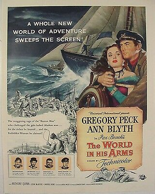 1952 GREGORY PECK The World In His Arms Movie Print Color Print Ad ANN BLYTH