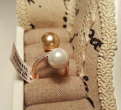 Beautiful White & Gold Shell Pearl Crossover Ring in 14k  gold over S/Silver