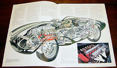 Aston Martin DB3S - technical cutaway / Citroen DS - technical cutaway drawing