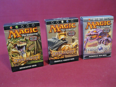 (3) Preconstructed Decks (opened) Onslaught & Mirrodin, Magic the Gathering, MTG