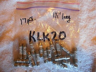 17 Pcs. Littelfuse KLK20 Fast Acting, Current Limiting Fuse - 20 amp  - NEW