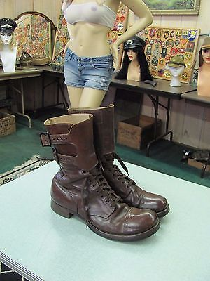 Original WW2 US Army Double Buckle Combat Boots Russet Leather Size 11 1//2 B