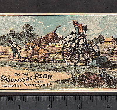 Black Farmer 1880's Universal Plow Mule Canton OH Antique Advertising Trade Card