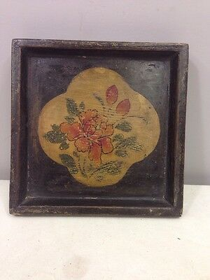 Chinese Asian Lacquered Square Tray Flower Motif