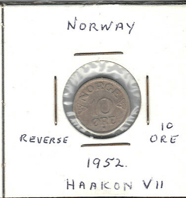 Norway 1952 10 Ore Coin
