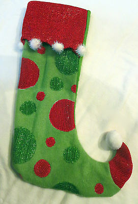 Fun Polka Dot Green and Red Glitter Stocking - Whimiscal Suess