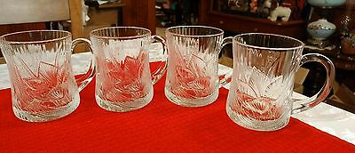 Set of (4) French ARCOROC CANTERBURY LILY CROCUS design cups or mugs. Exc cond