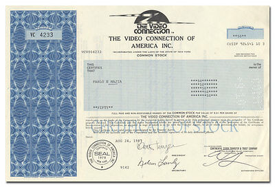 Video Connection of America, Inc. Stock Certificate (Video Rental Pioneer)