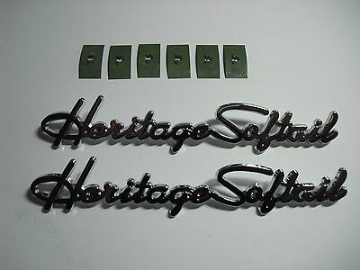 2 Harley Heritage Softail NEW Front Fender Emblems Medallions Nameplates