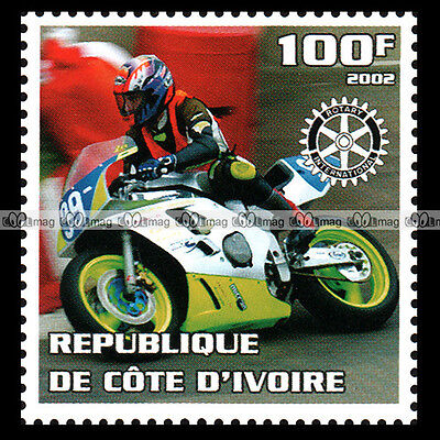 ★ MOTO RACING ★ CÔTE D'IVOIRE Timbre Poste Moto 2002 Motorcycle Stamp #322