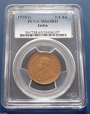 1935(c) India 1/4 Quarter Anna - PCGS MS65RD - Choice Uncirculated