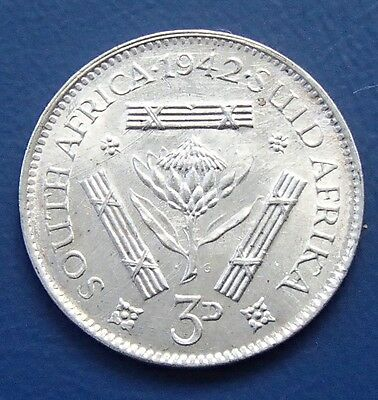 Unc 1942 South Africa Silver Three Pence - 631