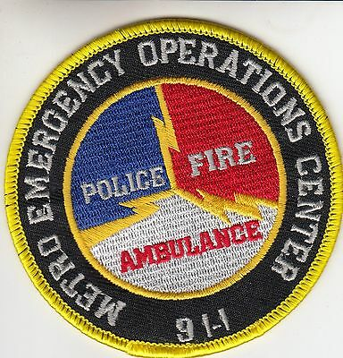 Metro Emergency Operaions 911 Kanawha County West Virginia Police Patch