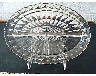 Depression Glass Windsor Diamond Pattern Relish Divided Dish 1936-1946