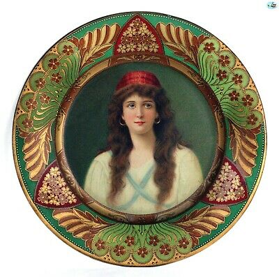 Antique 1907 Adorable Decorative Vienna Art Plate of 'Lady Irene' Gipsy
