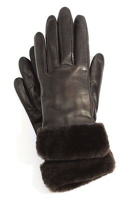 UGG® Australia Fashion Shorty Charcoal Brown Shearling Leather Gloves Sz M 2808