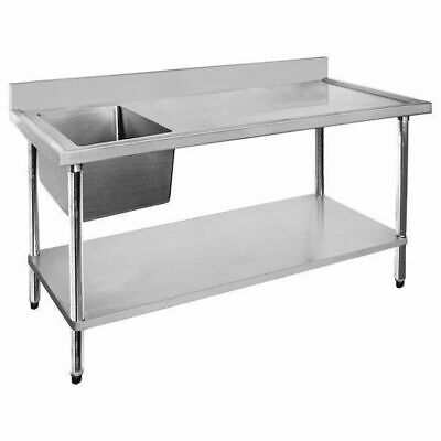 Sink Left Single Bowl & Right Drainer 1200x600x900mm Undershelf Stainless Top