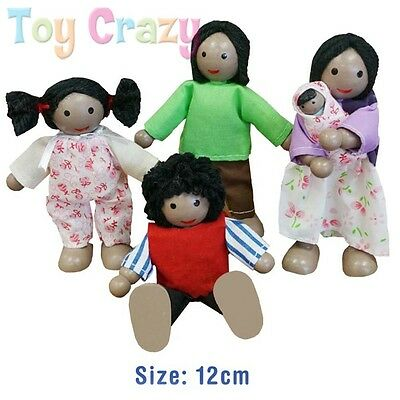 Fun Factory Wooden Dolls Poseable Ethnic Black Family Doll Set