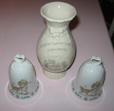 LOT Vase/Bells Precious Moments We Gather Together Ask Lords Blessings 1995/1994