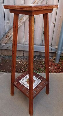 Vintage Carved Wood Italian Tile Plant Stand Table