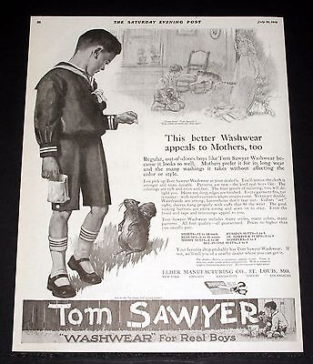 1919 Old Magazine Print Ad, Tom Sawyer Clothes For Real Boys, Appeals To Mother!