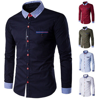 Mens Casual Shirts Long Sleeve Slim Fit Formal Luxury Dress Shirt Tops 5 Colours