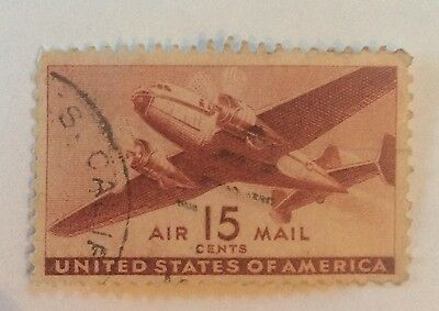 United States used stamp airmail 15 cents twin motor plane