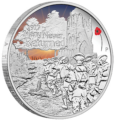 2017 ANZAC SPIRIT 100th ANNIVERSARY - MANY NEVER RETURNED -1oz Silver Proof Coin