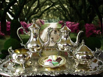 """Vintage Silver Plate FB Rogers Coffee Tea Set With XL Tray  28"""" x 18"""" Full Set"""