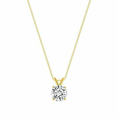 0.84ct Created Diamond Pendant 14K Solid Yellow Gold Solitaire Charm 6mm