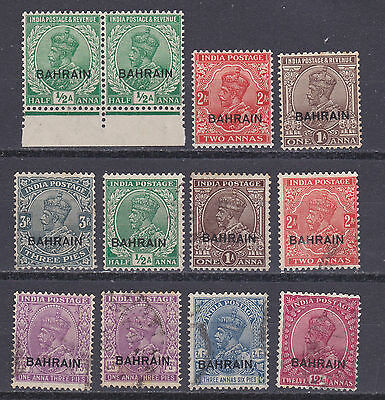 Bahrain 1933  collection of 12 mint hinged and used