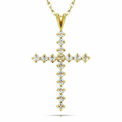 1CT Round Cut Created Diamond Cross Pendant 14K Yellow Gold Charm Brilliant VVS1