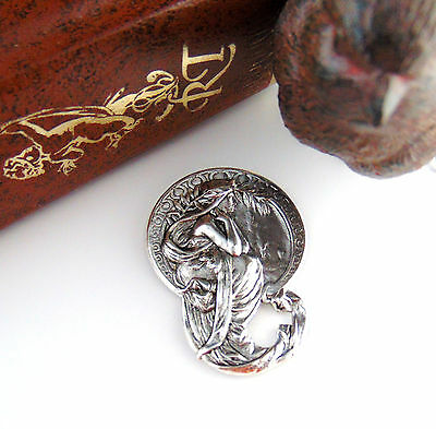 SILVER Alfonso Mucha Harvest Greek Goddess Woman Stamping ~ Finding (C-202)