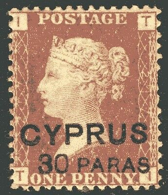 CYPRUS-1881 30p on 1d Red Plate 217 Sg 10 AVERAGE MOUNTED MINT V14110