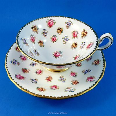 Painted Roses Pansies and Forget Me Nots Royal Chelsea Tea Cup and Saucer Set