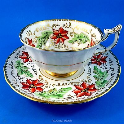 Handpainted Red Floral with Green Leaves Royal Chelsea Tea Cup and Saucer Set