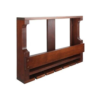 NEW Wall Mounted Home Cafe Pine Wood 7 Bottle Wine & Glass Storage Rack - Brown