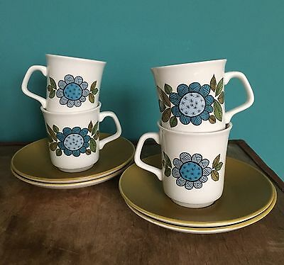"""Vintage/retro J&G Meakin Studio """"Topic"""" - Set of 4 Cups and Saucers"""