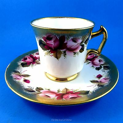 Pretty Pink Roses with Heavy Gold Border Royal Chelsea Tea Cup and Saucer Set