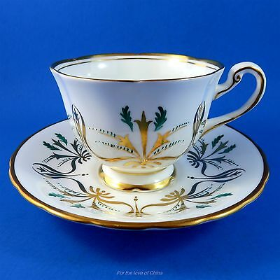 Teal Green and Gold Design Royal Chelsea Tea Cup and Saucer Set