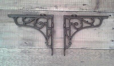 Pair Victorian Scroll Cast Iron Shelf Brackets  Vintage Rustic Antique  7 x 7.5