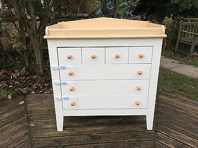 quality mamas & papas chest of drawers, ivory & light oak, changing staition
