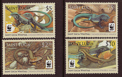 Saint Lucia Wwf, Whiptail, Lizards Set Of 4 Unmounted Mint