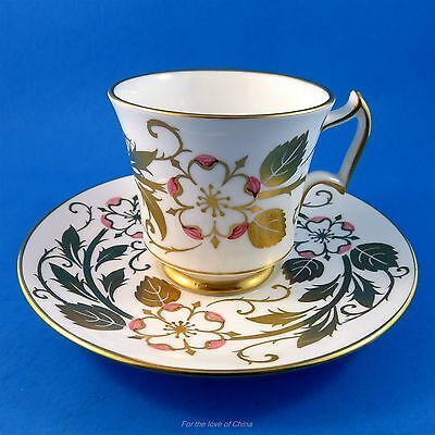 Pretty Gold and Pink Floral Handpainted Royal Chelsea Tea Cup and Saucer Set