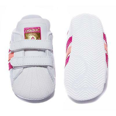 New adidas originals superstar shelltoe baby girls white pink crib shoe Size 1-2