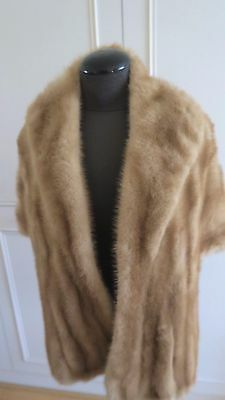 "Stunning Real blond mink fur Stole, Wrap, Shrug, Cape Shawl 59"" Wedding"