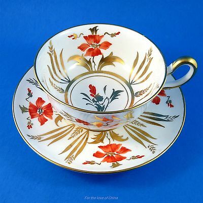 Hand Painted Red Poppies Royal Chelsea Tea Cup and Saucer Set