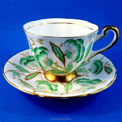 Green Handpainted Leaf Royal Chelsea Tea Cup and Saucer Set